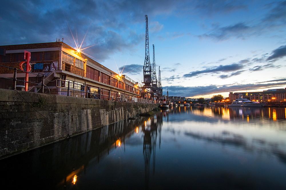 The old electric cranes, Harbourside, Bristol, England, United Kingdom, Europe - 1209-27