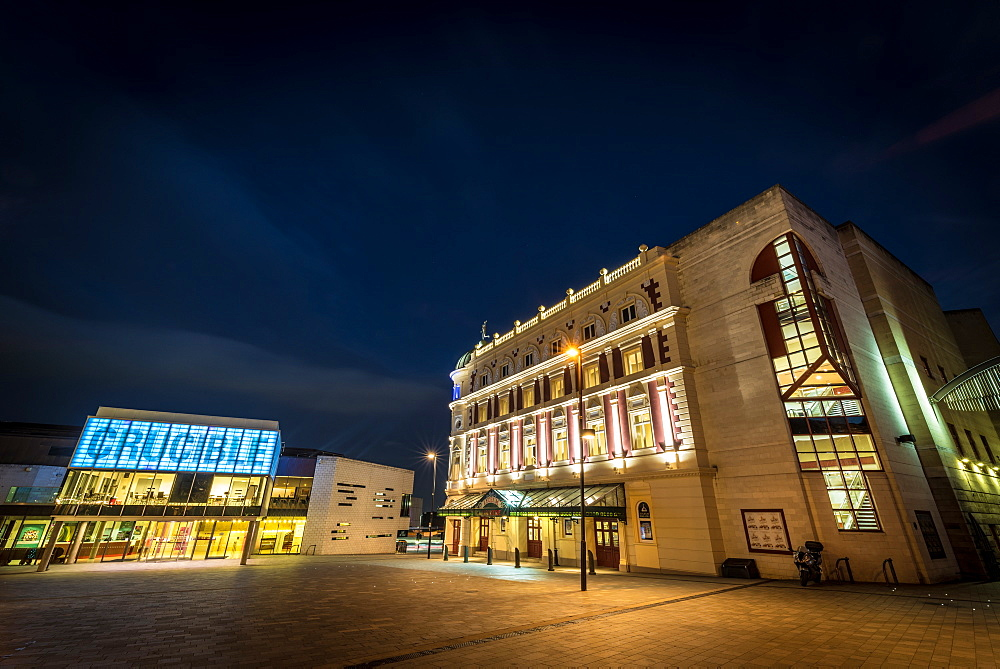 Sheffield Crucible and Lyceum theatres, Sheffield. Night.
