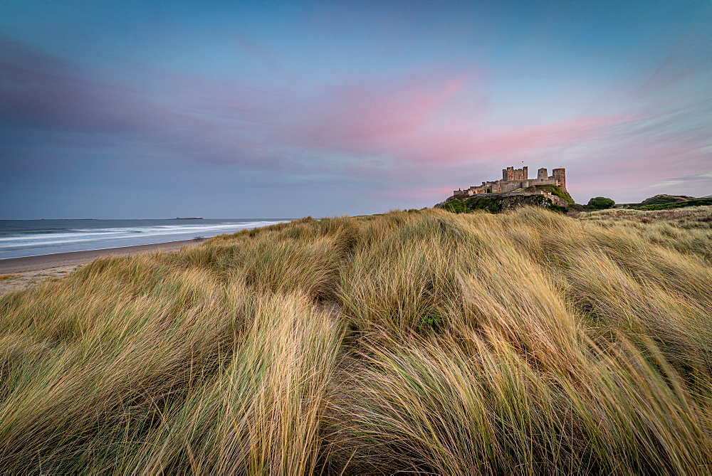 Sunset at Bamburgh Castle, Bamburgh, Northumberland.