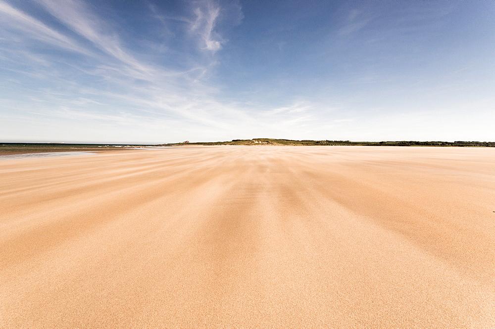 Budle Bay, looking towards Bamburgh, Northumberland, England, United Kingdom, Europe - 1209-34