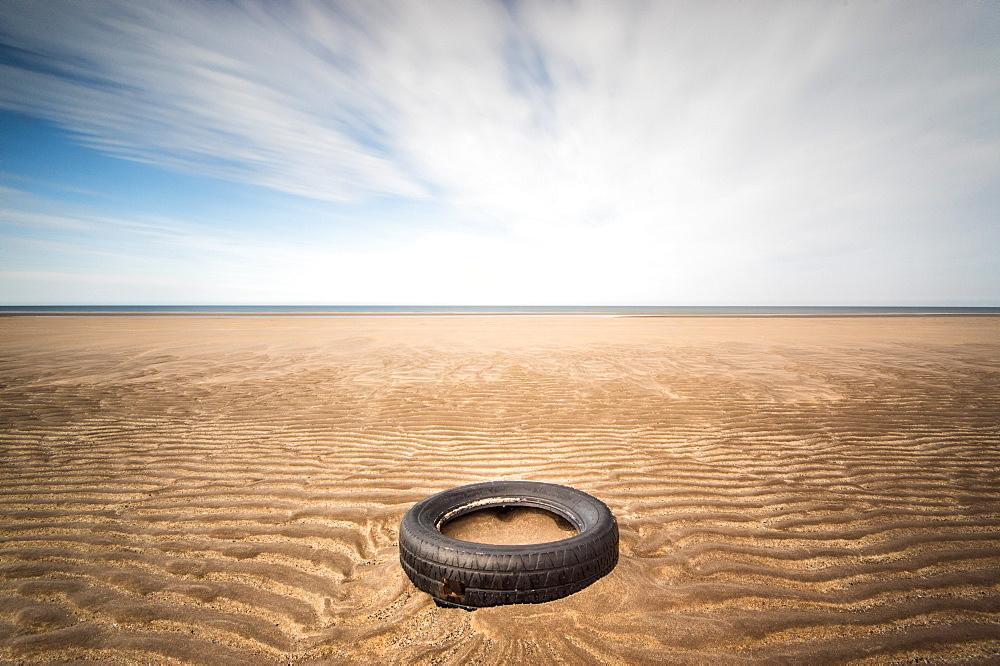 Spare tyre, Lindesfarne, Northumberland, England, United Kingdom, Europe - 1209-35