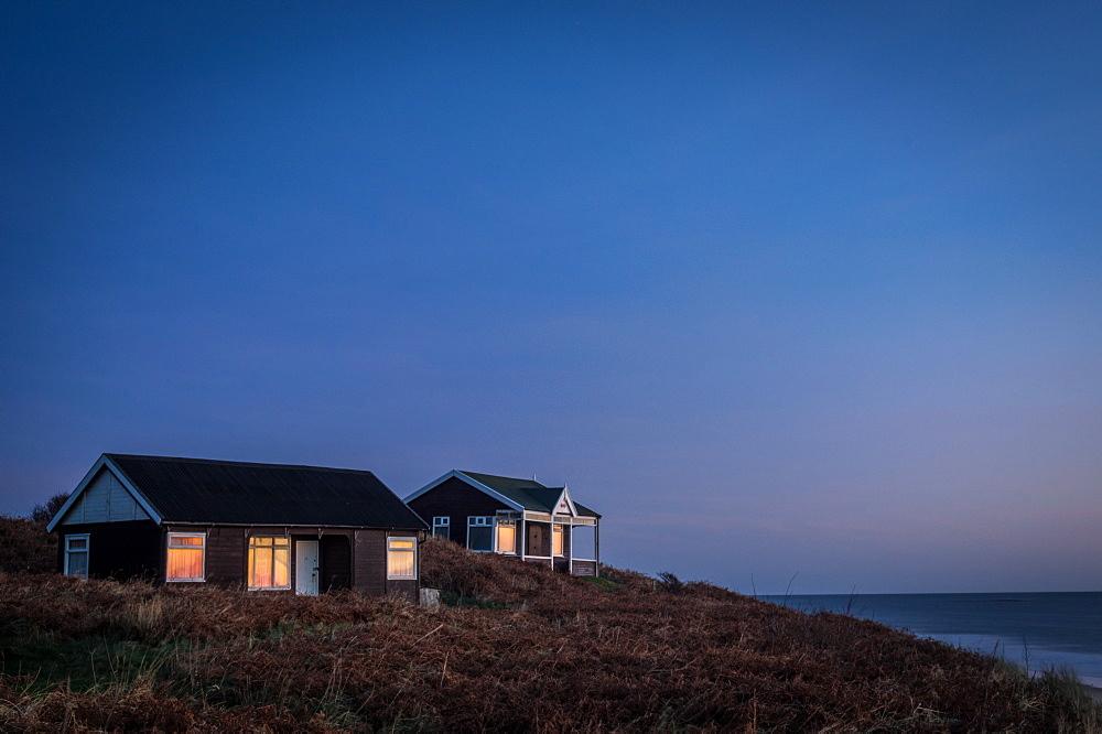 Beach huts, Embleton Bay, Northumberland, England, United Kingdom, Europe - 1209-41