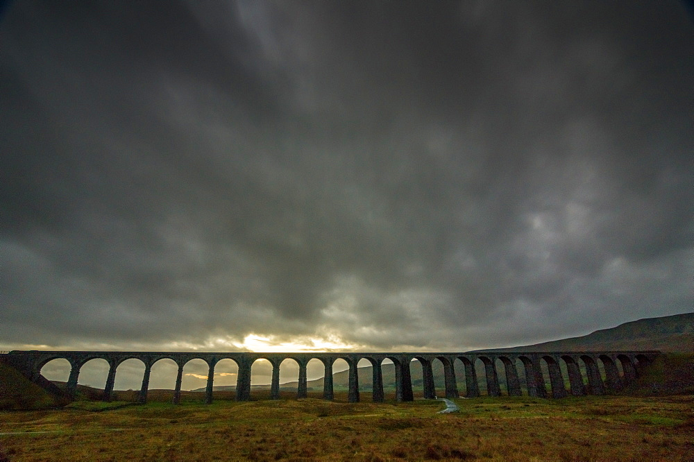 Ribblehead Viaduct, sunset, Yorkshire Dales National Park, Yorkshire, England, United Kingdom, Europe - 1209-43