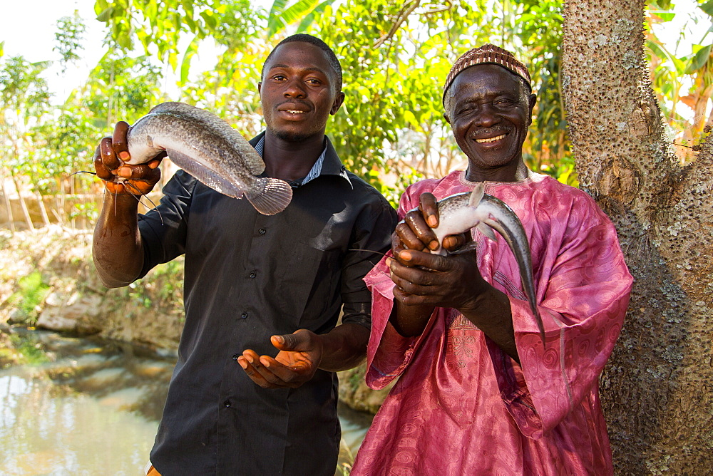 Baba Peter Keita and son Richard Peter, run a fish farm, Nigeria, West Africa, Africa