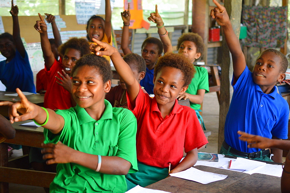 Grade 3 class at Gaulim Demonstration School in East New Britain during a phonics lesson, Papua New Guinea, Pacific