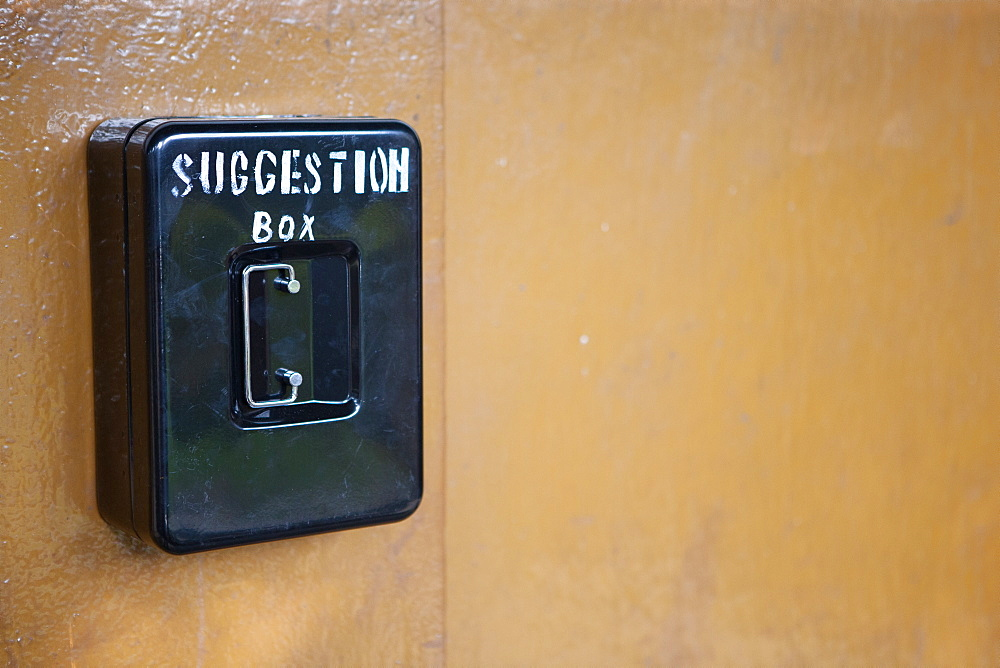 A suggestions box on the wall of the corridor at St. Francis Hospital, Tanzania, East Africa, Africa - 1211-27