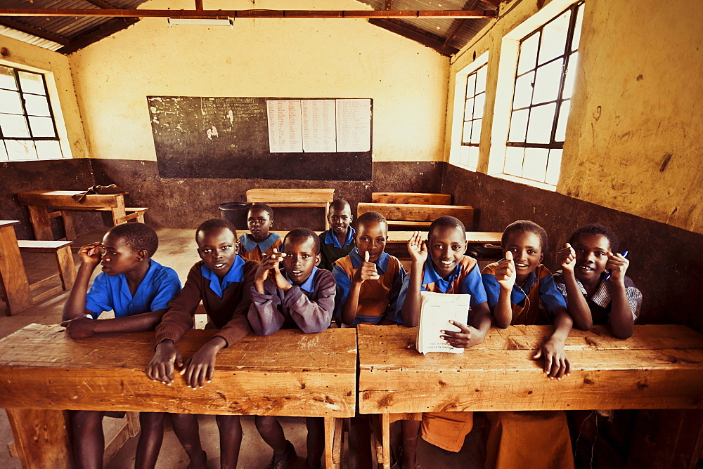 Primary school of the Leparua people, providing education as well as medication, Kenya, East Africa, Africa