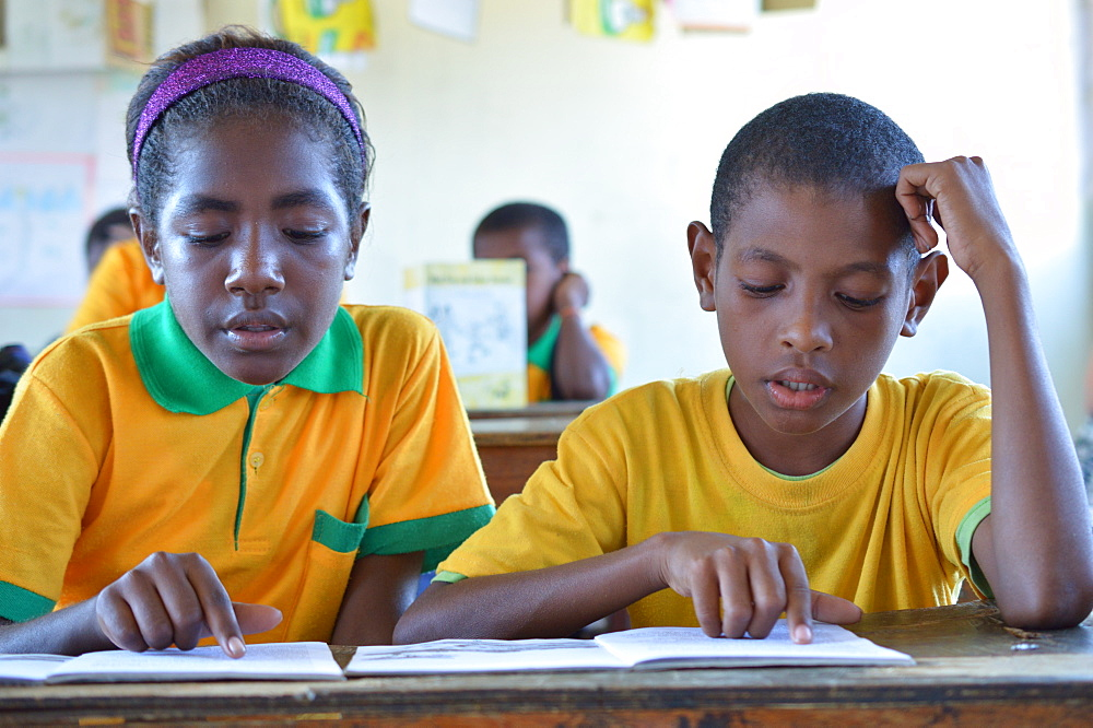 Two grade 3 students reading at Kusbau School in the coastal region of Madang in Papua New Guinea, Pacific - 1211-58