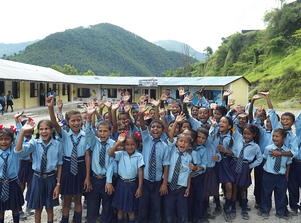 Children at Himalaya Lower Secondary School in Tallagauganganda in Kaski district of Nepal, Asia