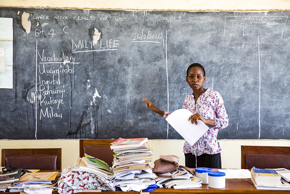 Local teacher Rebecca Ngovano during a training session for all the teachers in the school to improve teaching methodologies in classrooms, Angaza school, Lindi, Tanzania, East Africa, Africa - 1211-97