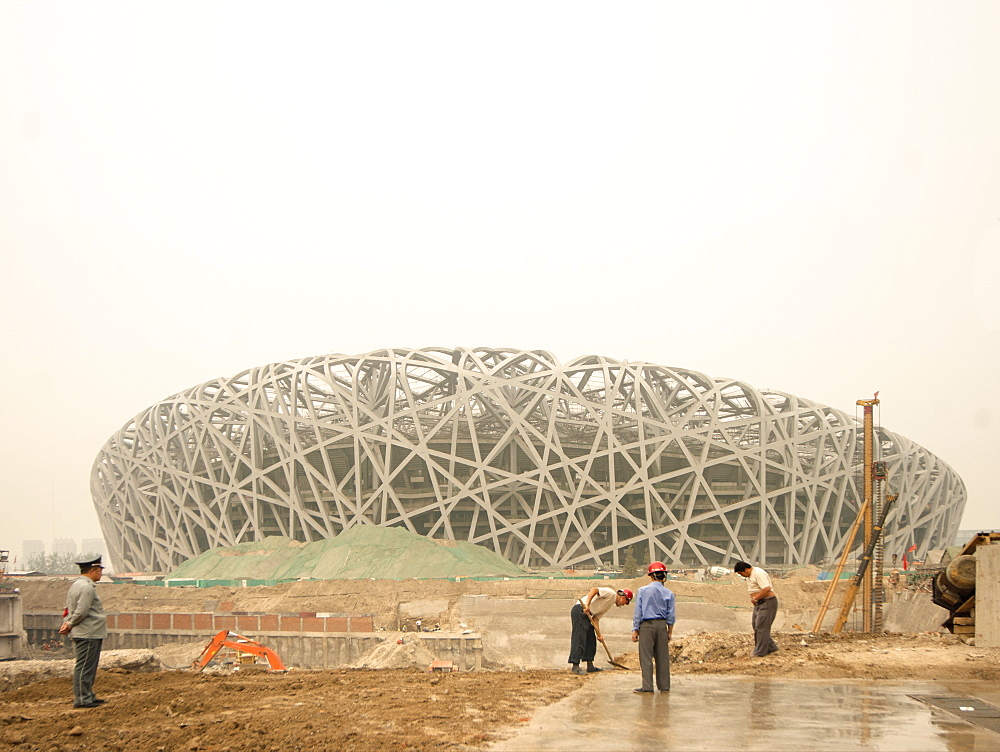 Building the Birds Nest Olympic stadium, Beijing, China, Asia