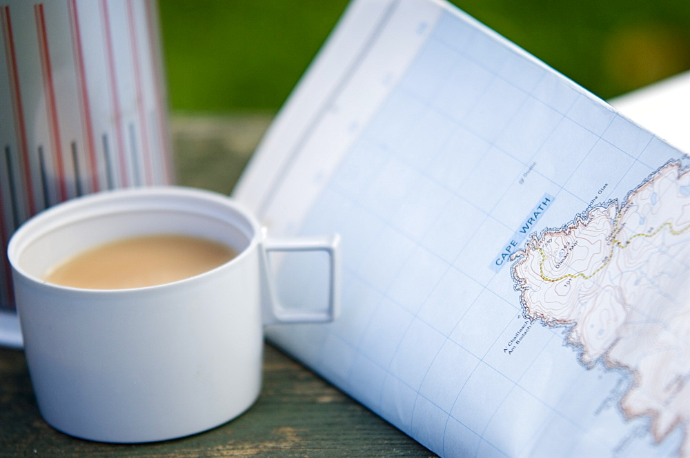 Tea and walkers map with flask, United Kingdom, Europe
