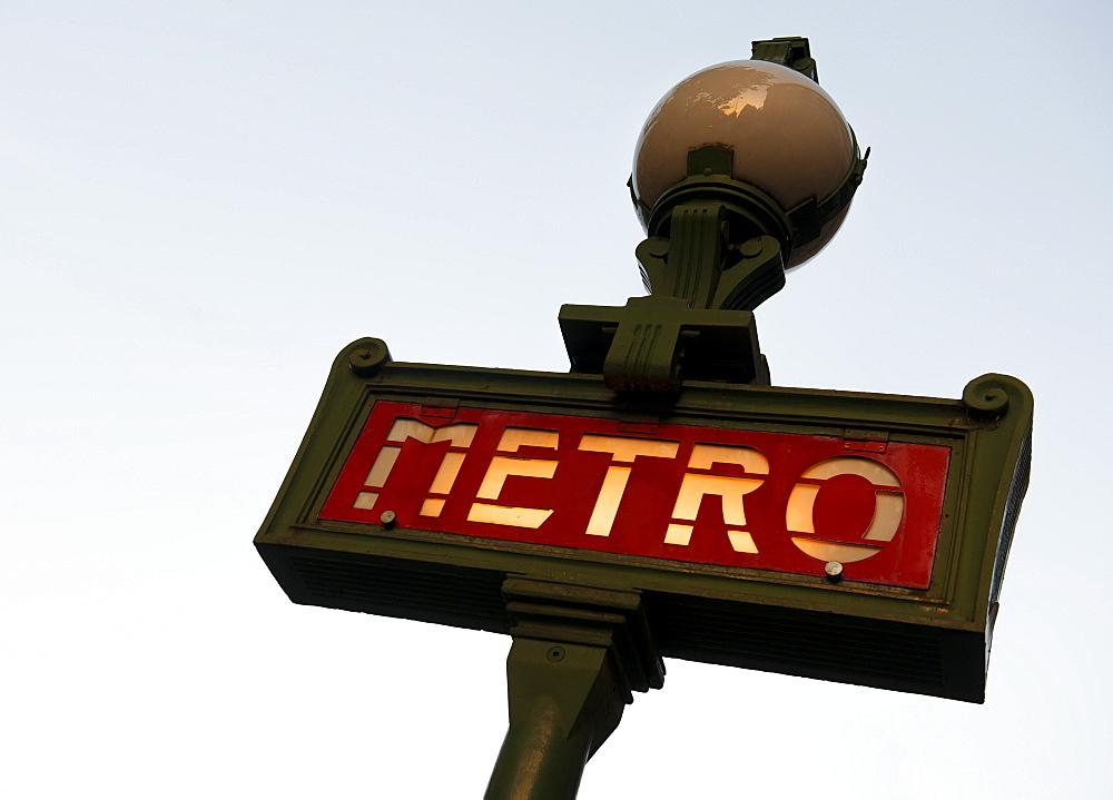 Paris Metro sign, Paris, France, Europe