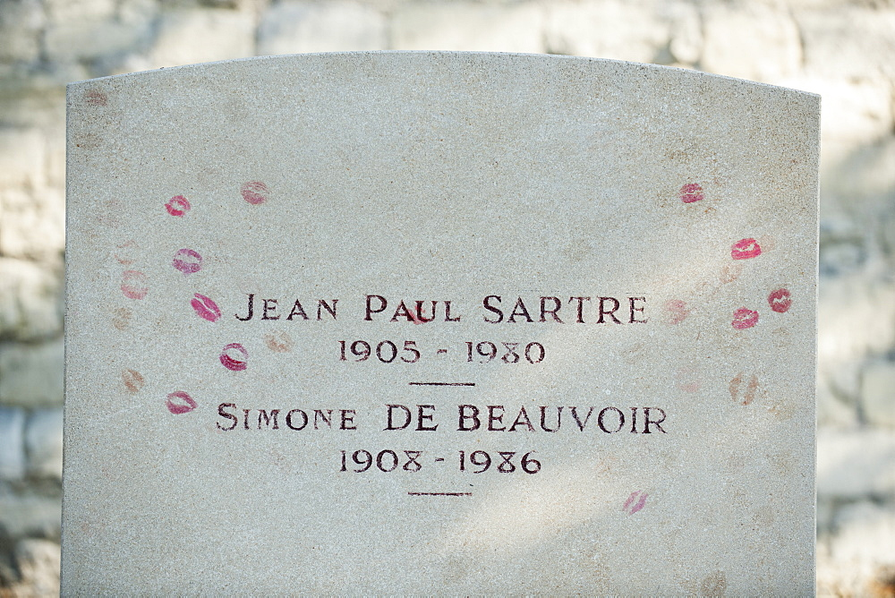 Gravestone of existentialist writers Jean Paul Sartre and Simone de Beauvoir at Pere Lachaise Cemetery, Paris, France, Europe