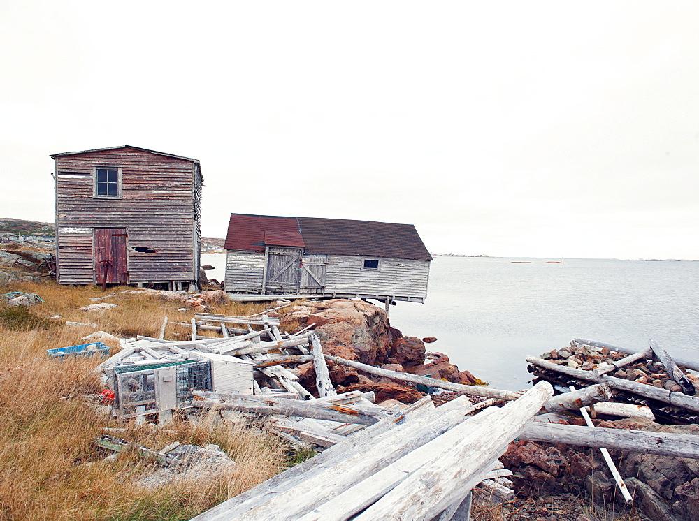 Fishing huts, Fogo Island, Newfoundland, Canada, North America - 1212-191