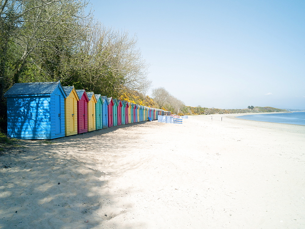 Beach huts at Holkham Nature Reserve near Wells-next-the-Sea, Norfolk, England, United Kingdom, Europe