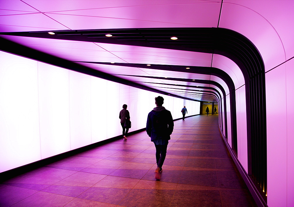 Lit underpass at Kings Cross station, London, England, United Kingdom, Europe - 1212-252