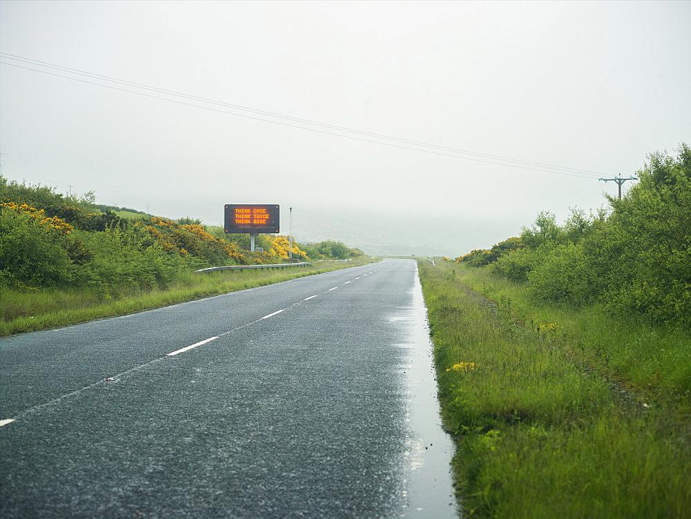 Road warning sign, Scotland, United Kingdom, Europe