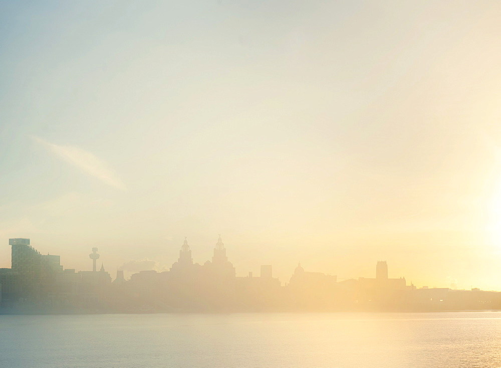 Skyline in the early morning mist, Liverpool, England, United Kingdom, Europe