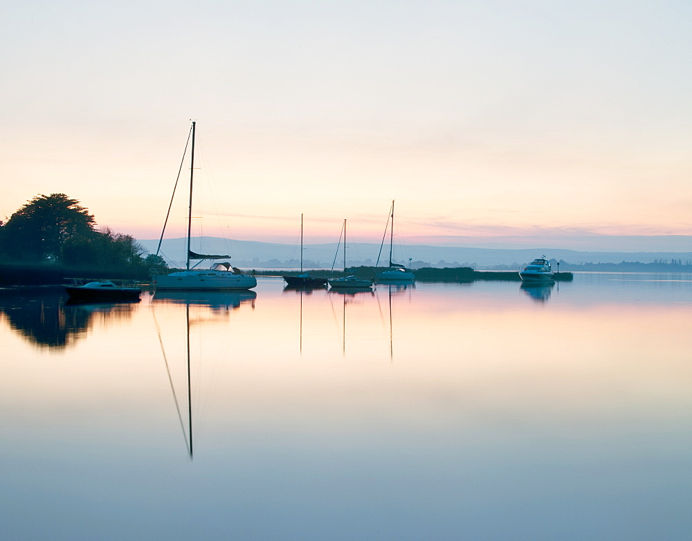 Yachts moored on Lough Derg in the early morning, River Shannon, Portumna, Co Galway, Republic of Ireland, Europe - 1212-367