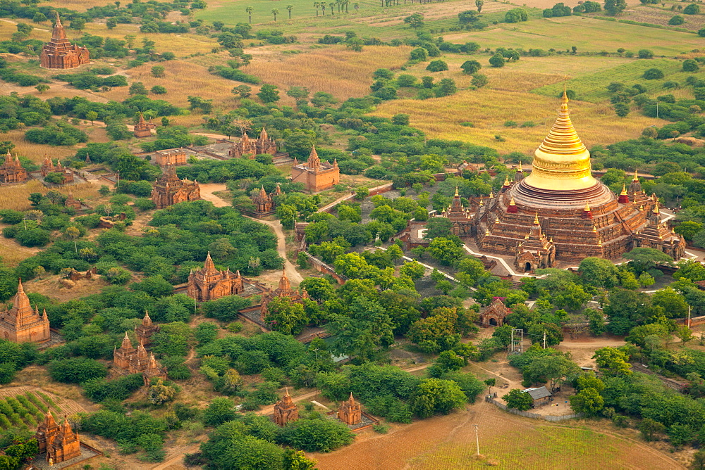 Aerial view of the ancient city of Bagan where more than 2200 ancient temples remain of the original 10000, Bagan (Pagan), Myanmar (Burma), Asia - 1212-431
