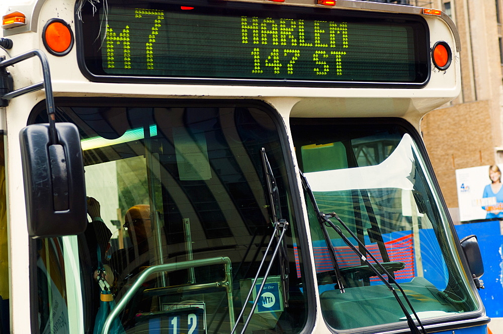 Harlem bound New York City bus, New York, United States of America, North America
