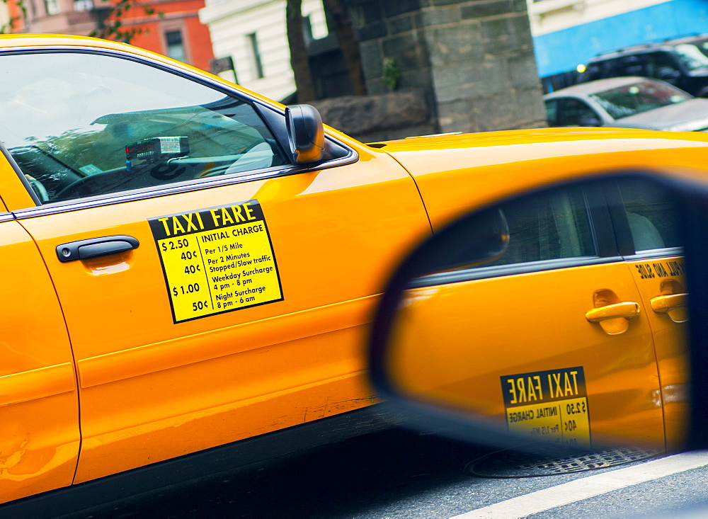 Traditional yellow taxi, New York City, United States of America, North America