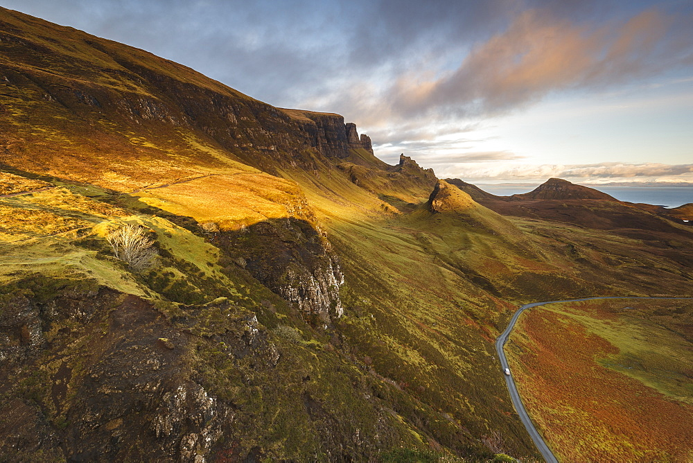 Sunset over the Trotternish Range from the Quiraing on the Isle of Skye, Inner Hebrides, Scotland, United Kingdom, Europe - 1213-105