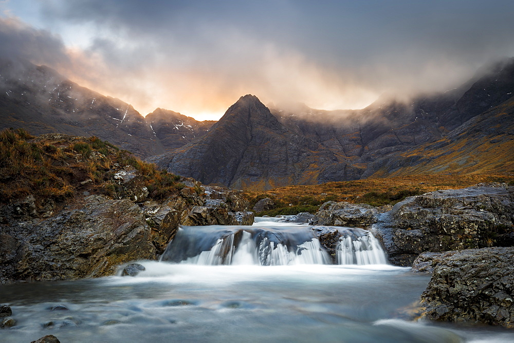 The Black Cuillin mountains in Glen Brittle from the Fairy Pools, Isle of Skye, Inner Hebrides, Scotland, United Kingdom, Europe - 1213-108