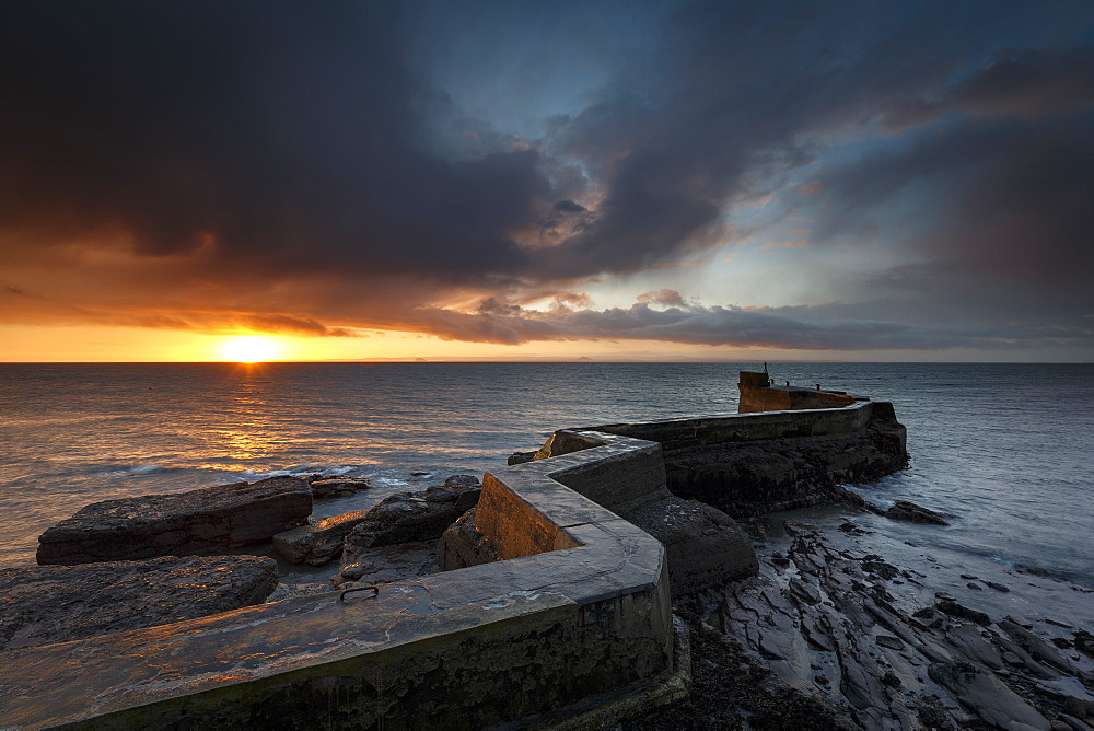 The Blocks (aka ZigZag) breakwater at sunrise at the harbour of St. Monans in Fife, East Neuk, Scotland, United Kingdom, Europe - 1213-110