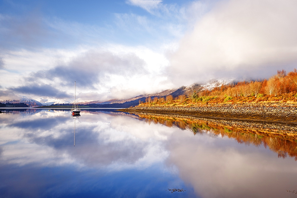 The still waters of Loch Leven near Ballachulish on a winter's morning, Glencoe, Highlands, Scotland, United Kingdom, Europe