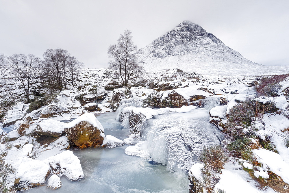 A frozen River Coupall and Buachaille Etive Mor in winter, Glen Etive, Highlands, Scotland, United Kingdom, Europe - 1213-114