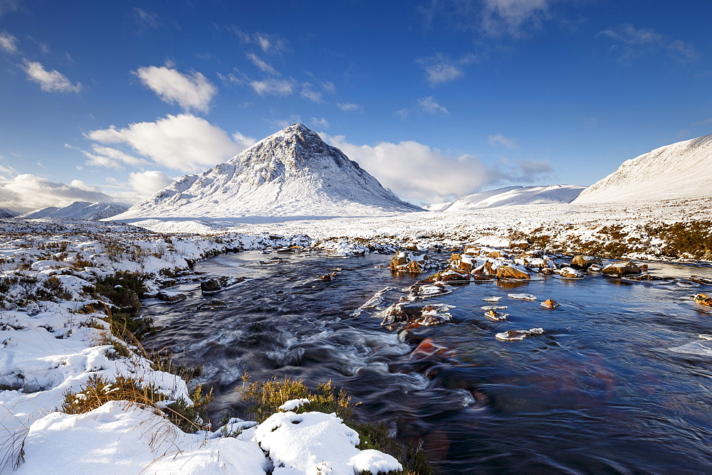 A wintery scene at Buachaille Etive Mor and River Coupall, Glencoe, Highlands, Scotland, United Kingdom, Europe - 1213-115