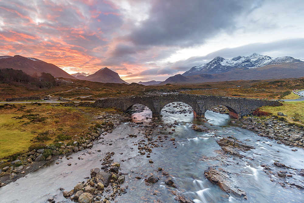 Sgurr nan Gillean in the Cuillin mountains from Sligachan Bridge, Isle of Skye, Inner Hebrides, Scotland, United Kingdom, Europe