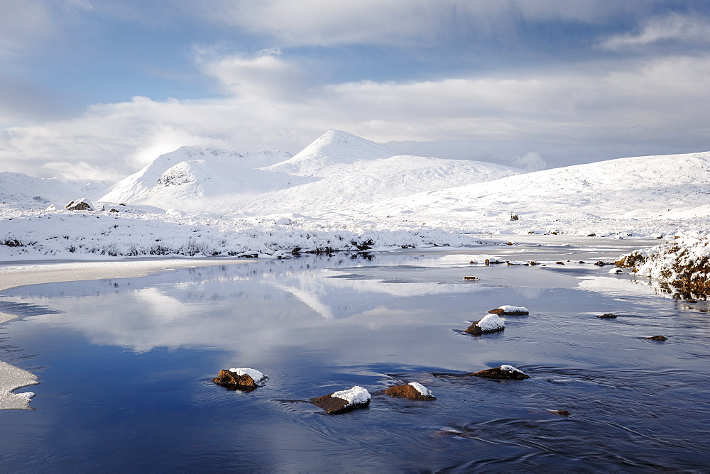 A wintery scene of Black Mount from Lochan na h-achlaise on Rannoch Moor, Highlands, Scotland, United Kingdom, Europe