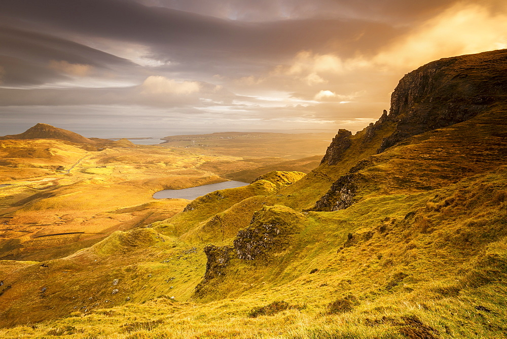 The Trotternish Range towards Staffin from the Quiraing on the Isle of Skye, Inner Hebrides, Scotland, United Kingdom, Europe - 1213-120