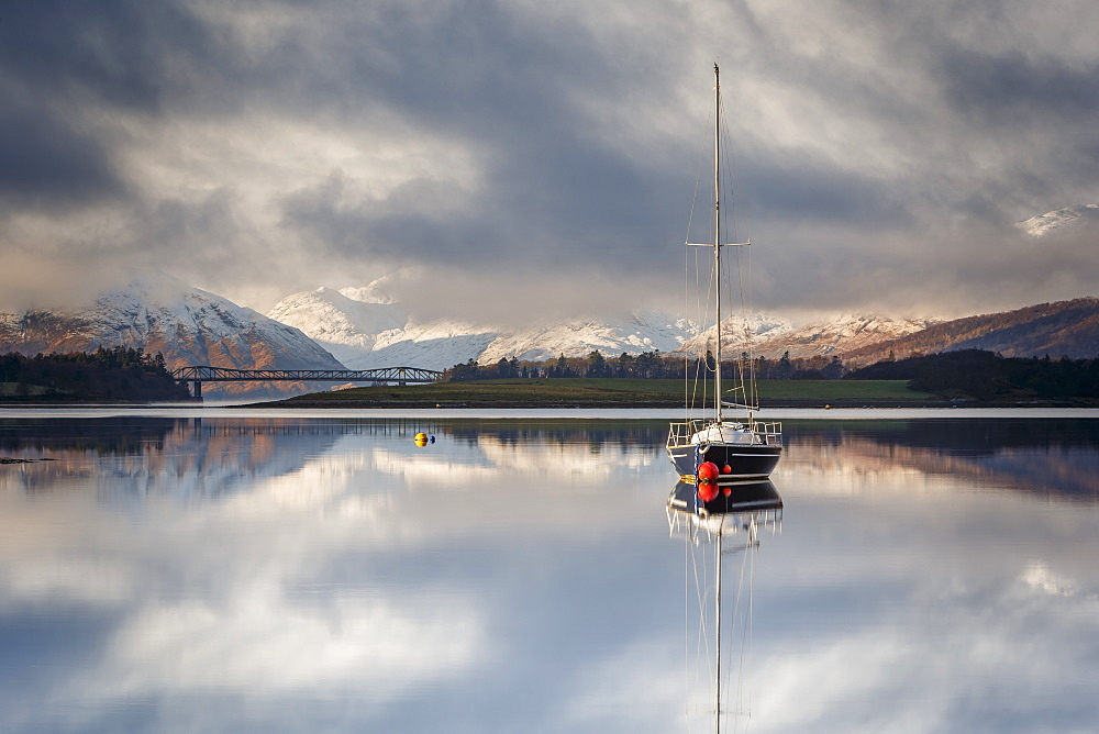 The still waters of Loch Leven near Ballachulish on a winter morning, Glencoe, Highlands, Scotland, United Kingdom, Europe