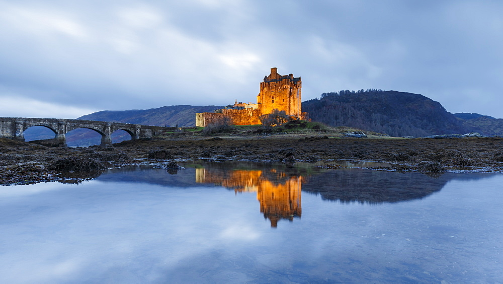 Dusk at Eilean Donan (Eilean Donnan) Castle in Dornie, Highlands, Scotland, United Kingdom, Europe - 1213-124