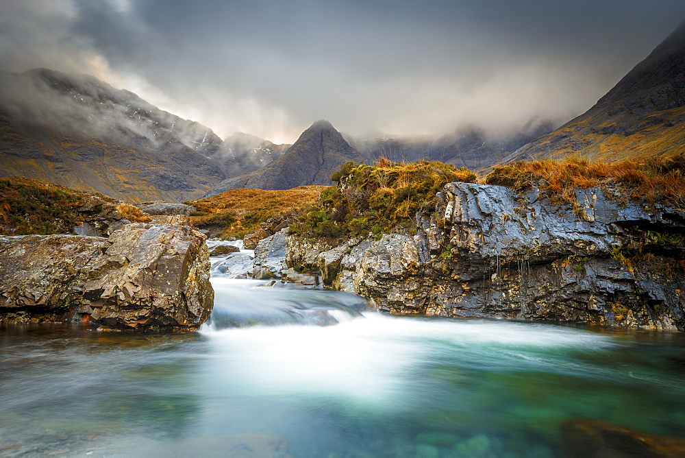 The Black Cuillin mountains in Glen Brittle from the Fairy Pools, Isle of Skye, Inner Hebrides, Scotland, United Kingdom, Europe - 1213-127