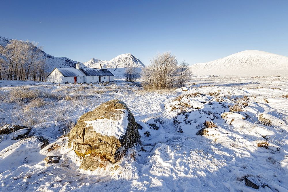 A wintery scene at Black Rock cottage and Buachaille Etive Mor on Rannoch Moor, Highlands, Scotland, United Kingdom, Europe - 1213-129