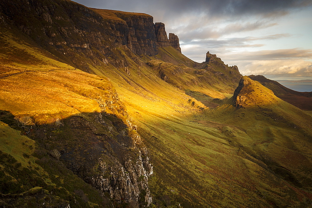 Sunset over the Trotternish Range from the Quiraing on the Isle of Skye, Inner Hebrides, Scotland, United Kingdom, Europe