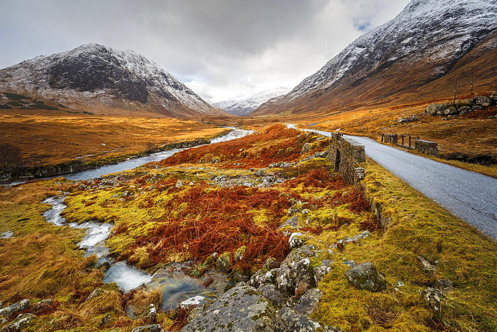Winter in Glen Etive, the Highlands Region, Scotland, United Kingdom, Europe