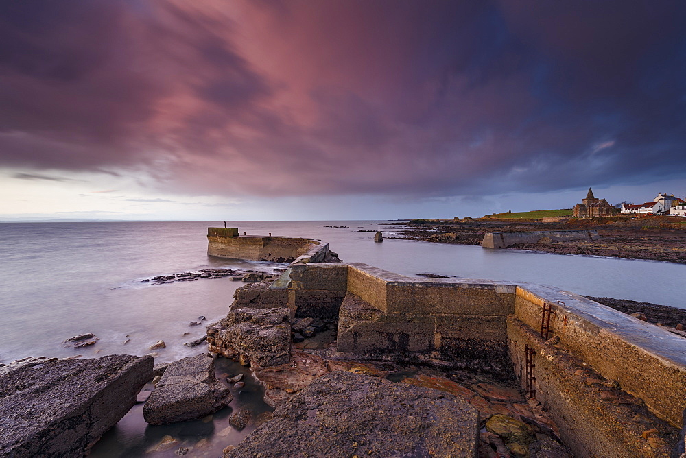 The Blocks (the ZigZag), breakwater at dawn at the harbour of St. Monans in Fife, East Neuk, Scotland, United Kingdom, Europe - 1213-134