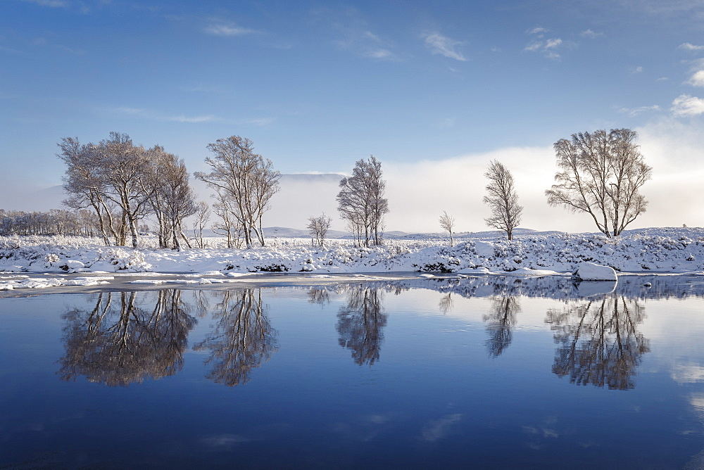 A wintery scene on Rannoch Moor, Highlands, Scotland, United Kingdom, Europe