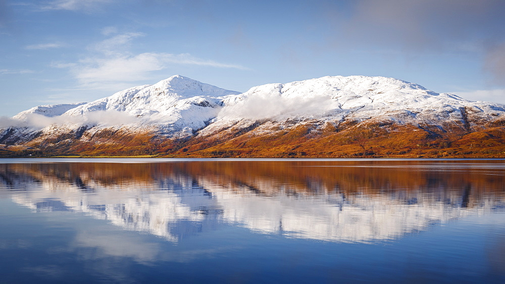 Wintery scene of Loch Linnhe, near Fort William, in calm weather with reflections, Highlands, Scotland, United Kingdom, Europe - 1213-139