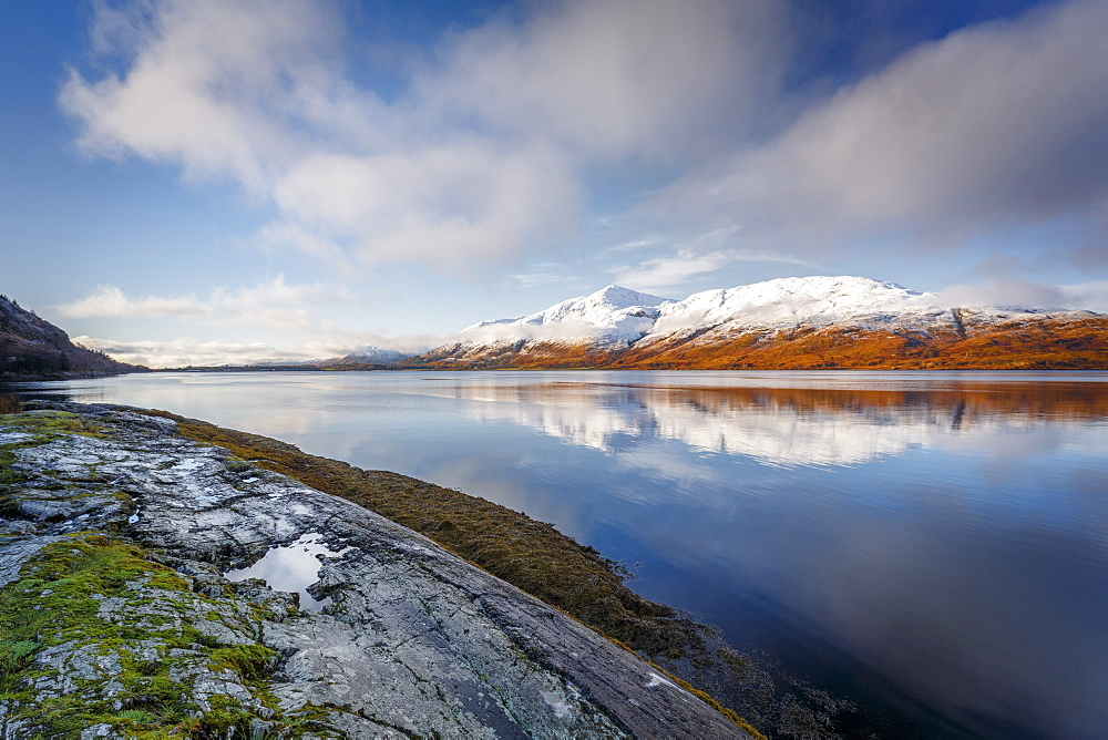 Wintery scene of Loch Linnhe, near Fort William, in calm weather with reflections, Highlands, Scotland, United Kingdom, Europe - 1213-140