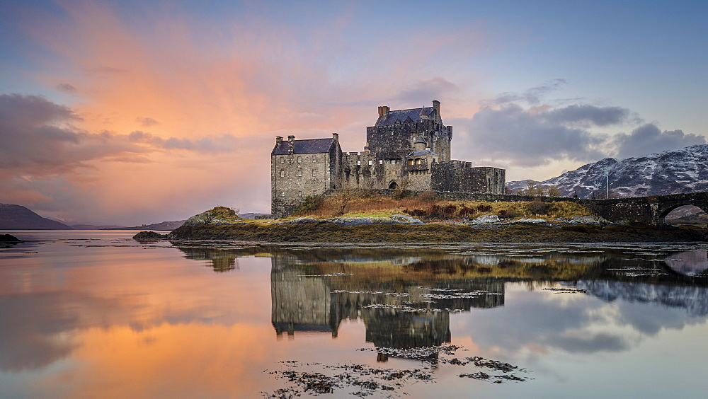 Dawn at Eilean Donan Castle (Eilean Donnan) on Loch Duich, Dornie, Kyle of Lochalsh, Scottish Highlands, United Kingdom, Europe