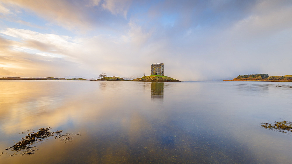 Castle Stalker on its own island in Loch Laich off Loch Linnhe, Port Appin, Argyll, Scottish Highlands, Scotland, United Kingdom, Europe - 1213-145