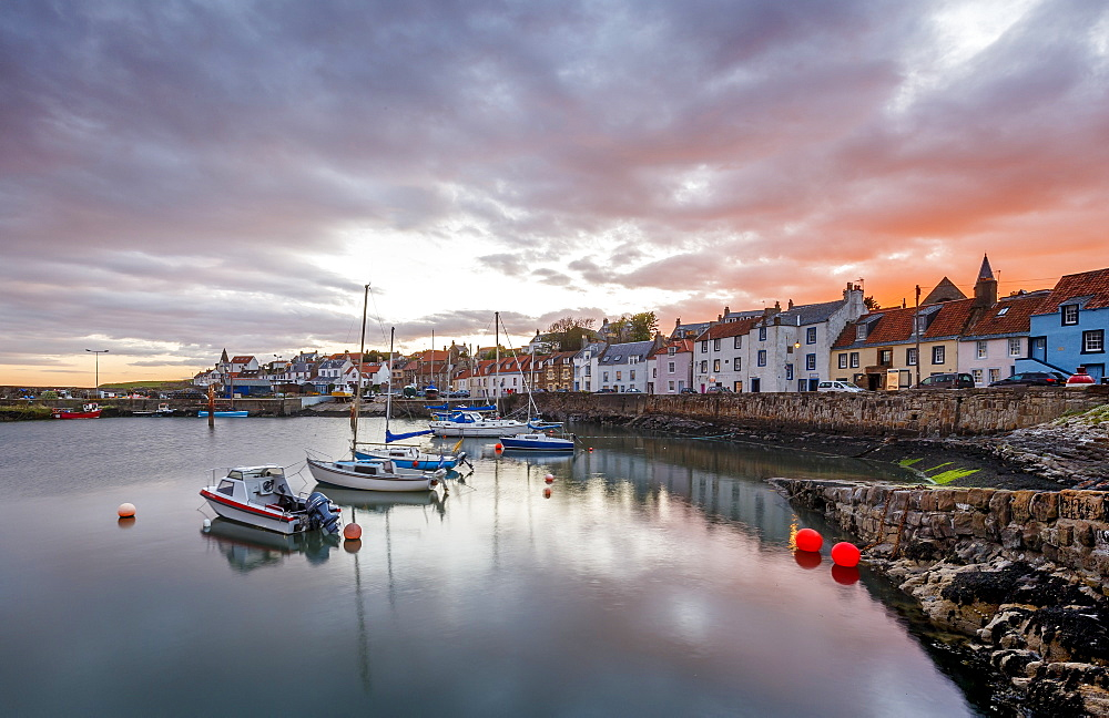 Sailing boats at sunset in the harbour at St. Monans, Fife, East Neuk, Scotland, United Kingdom, Europe - 1213-50