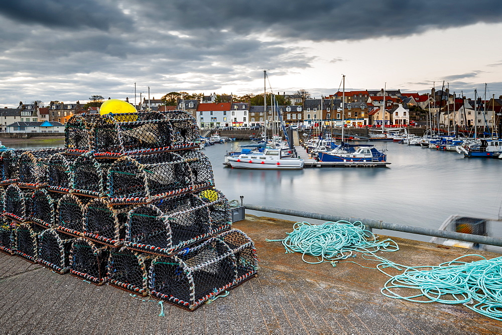 Sailing boats and crab pots at dusk in the harbour at Anstruther, Fife, East Neuk, Scotland, United Kingdom, Europe - 1213-54